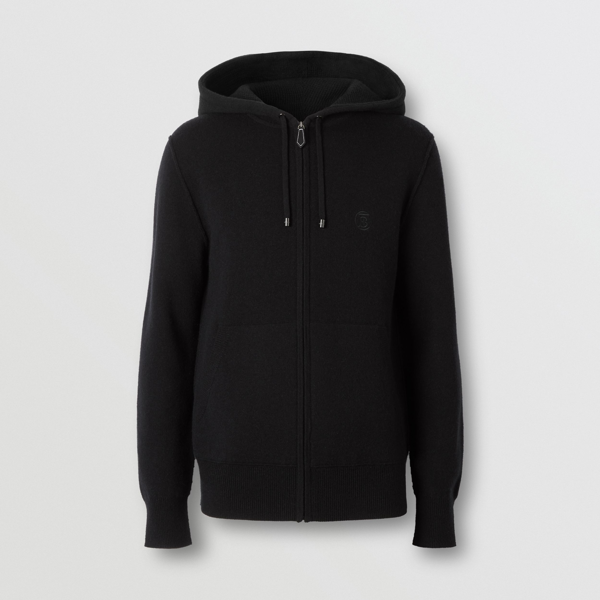 Monogram Motif Cashmere Blend Hooded Top in Black - Men | Burberry - 4
