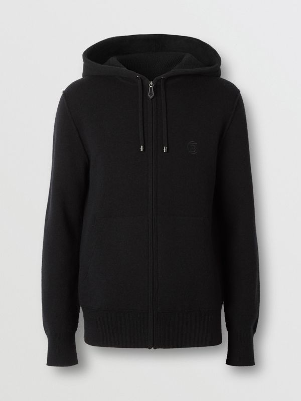 Haut à capuche en cachemire mélangé Monogram (Noir) - Homme | Burberry - cell image 3