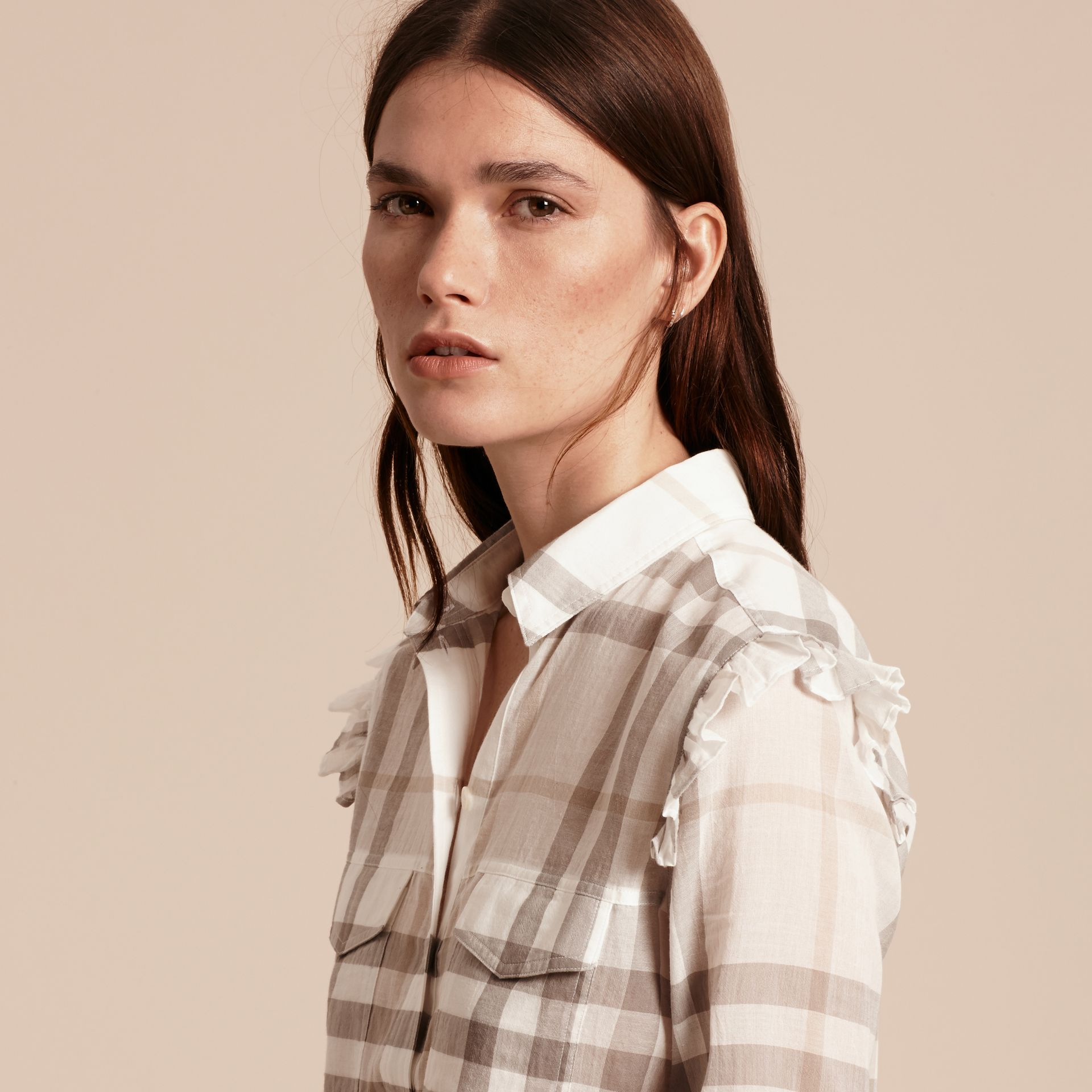 Frill Detail Check Cotton Shirt Natural White - gallery image 5