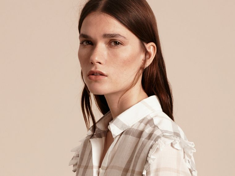 Frill Detail Check Cotton Shirt Natural White - cell image 4