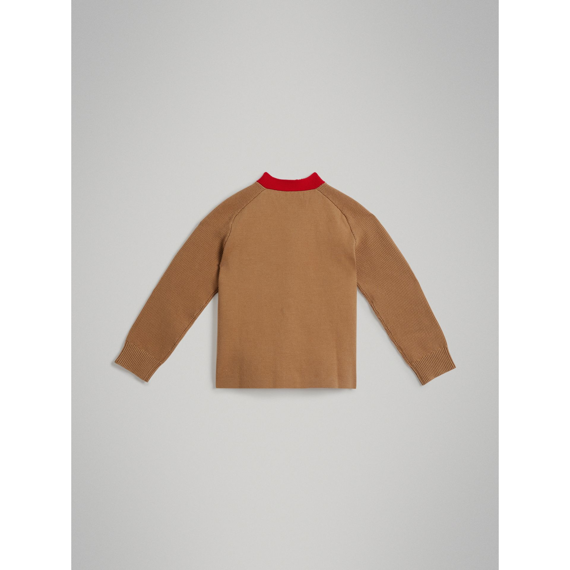 Cardigan en coton bicolore (Camel) | Burberry - photo de la galerie 3