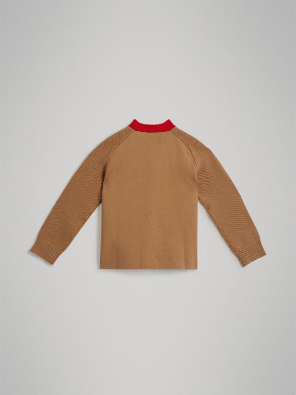 Two-tone Cotton Knit Cardigan in Camel | Burberry United States - cell image 3