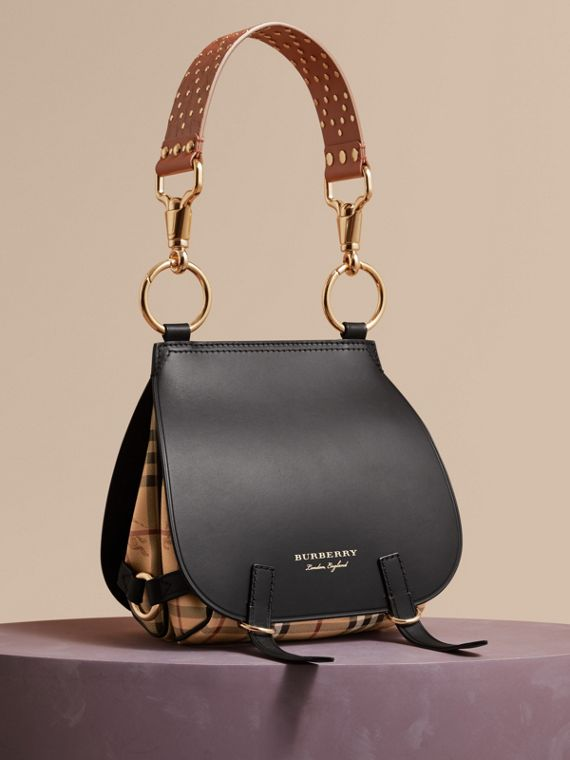 Borsa The Bridle in pelle, motivo Haymarket check e alligatore