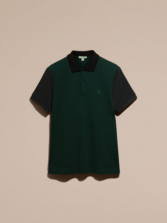 Racing green Colour-block Cotton Piqué Polo Shirt Racing Green - cell image 3