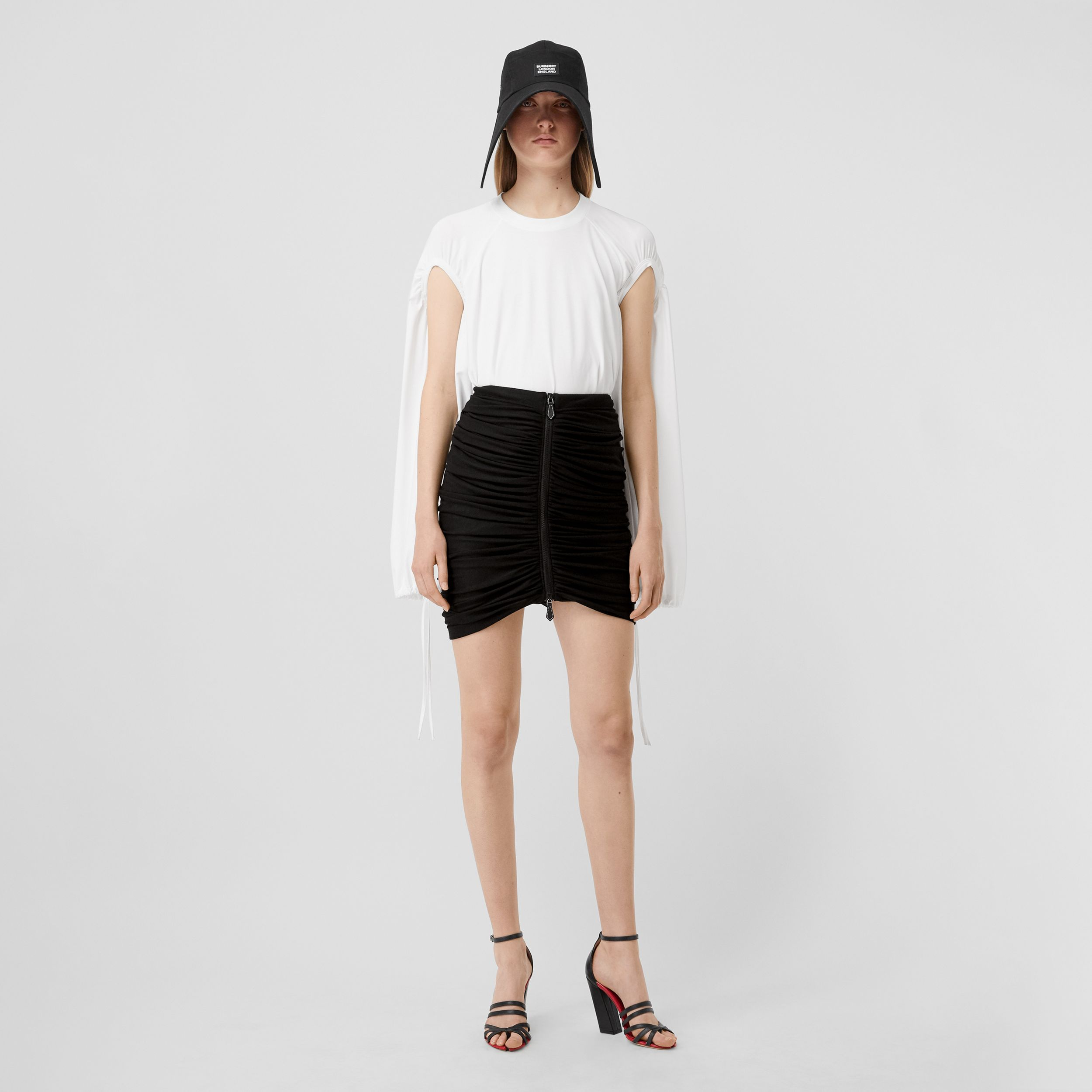 Ruched Jersey Mini Skirt in Black - Women | Burberry Australia - 1