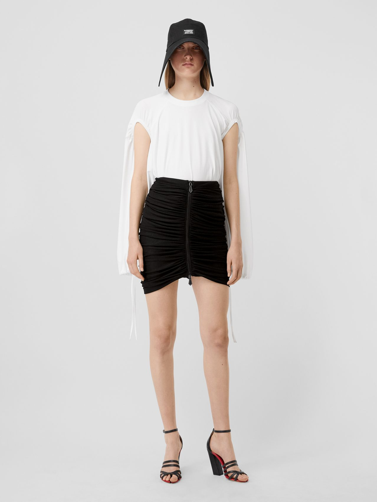 Ruched Jersey Mini Skirt in Black