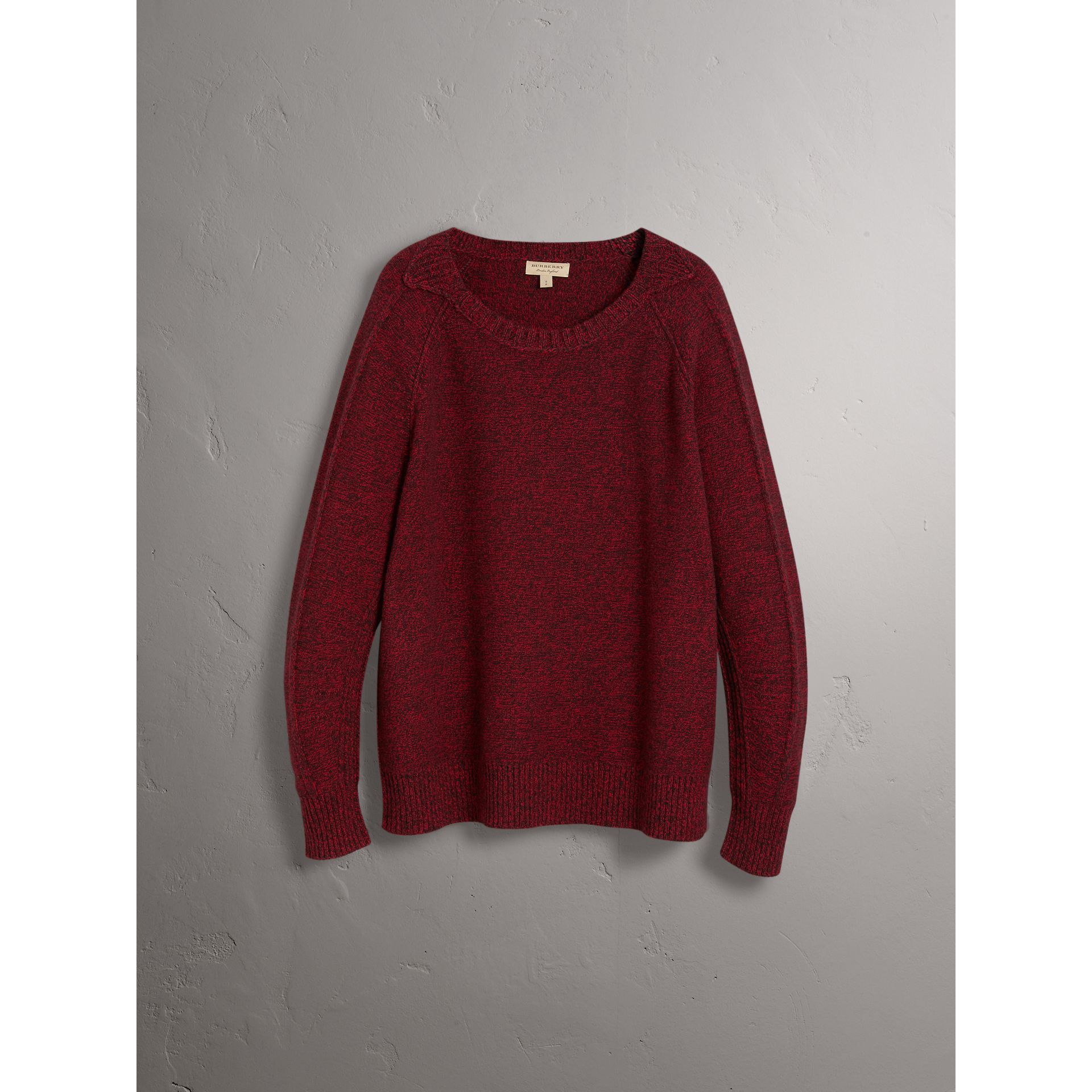 Melange Wool Sweater in Parade Red - Women | Burberry - gallery image 4
