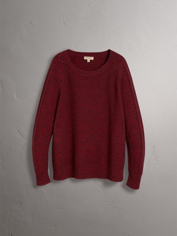 Melange Wool Sweater in Parade Red - Women | Burberry Singapore - cell image 3