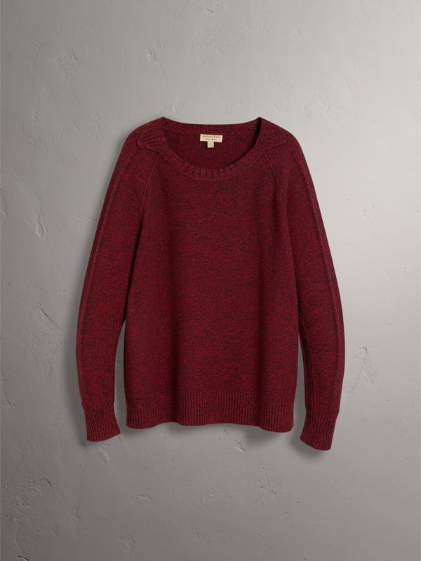 Melange Wool Sweater in Parade Red - Women | Burberry - cell image 3