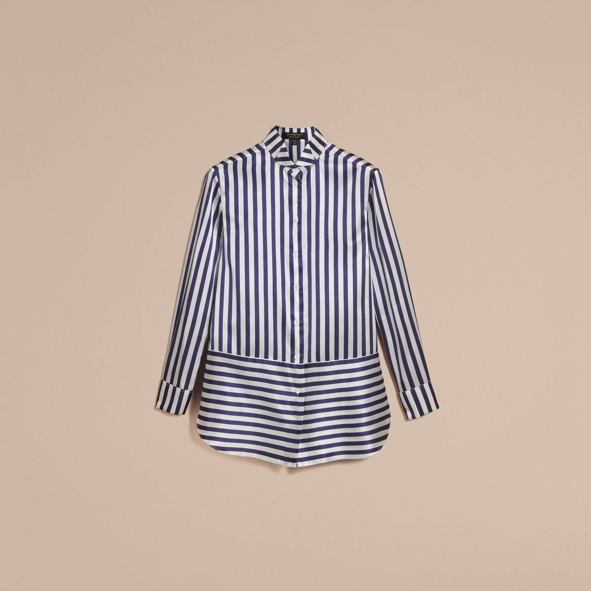 Wing Collar Striped Silk Cotton Shirt - Women | Burberry - gallery image 4