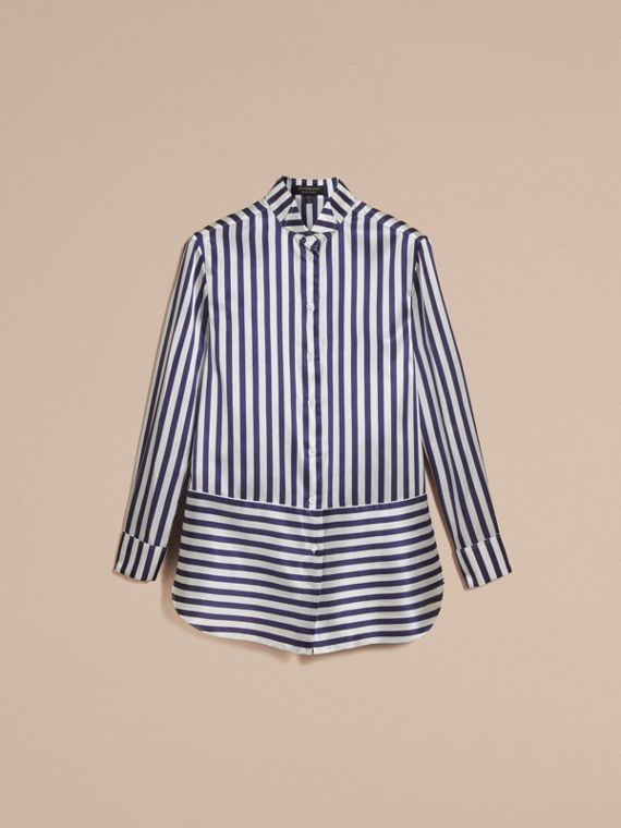 Wing Collar Striped Silk Cotton Shirt - Women | Burberry - cell image 3