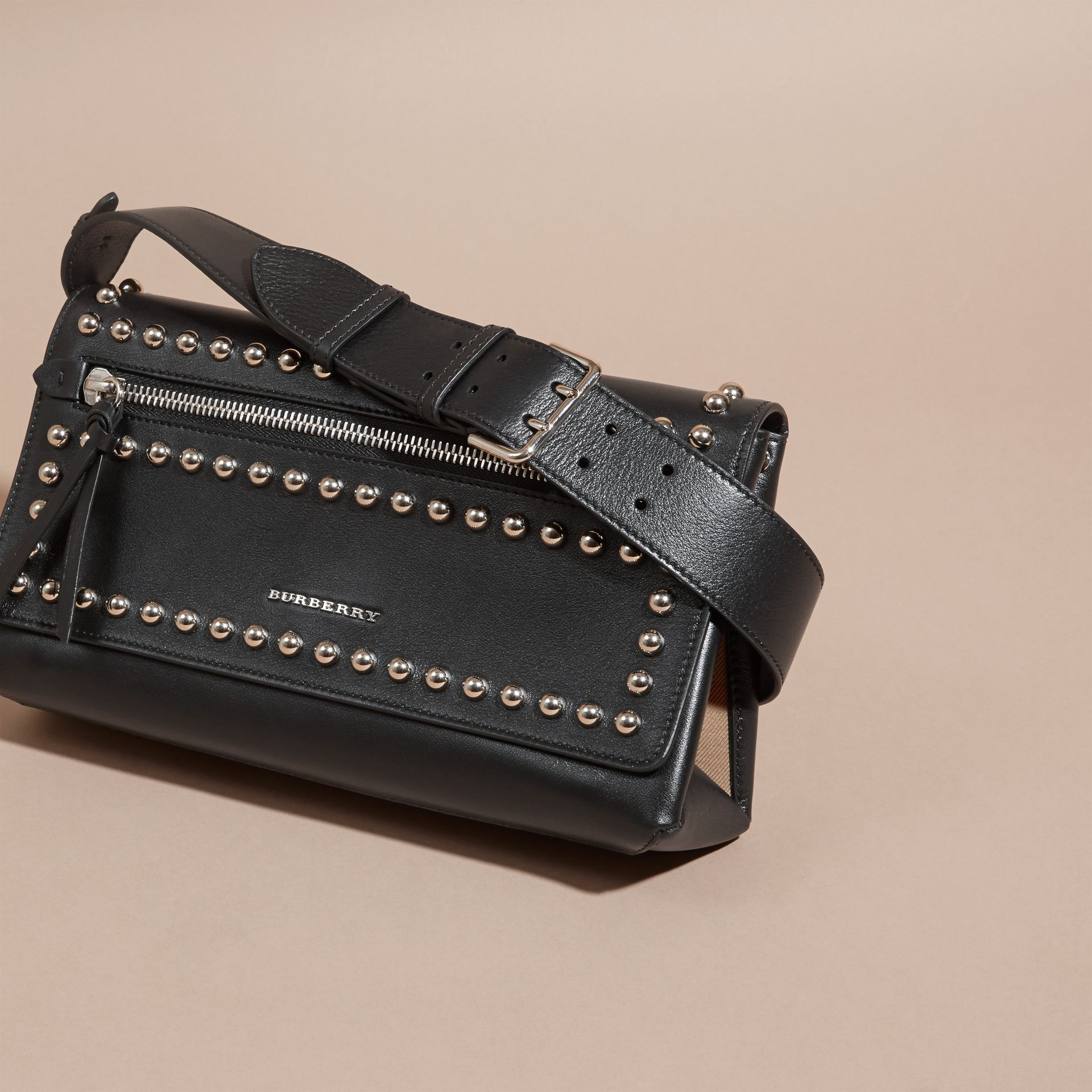 Black Smooth Leather Clutch Bag with Stud Detail - gallery image 8