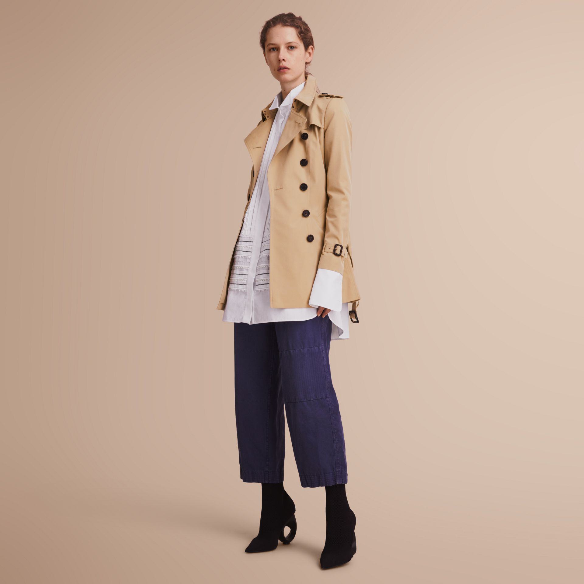 The Chelsea – Short Heritage Trench Coat in Honey - gallery image 7