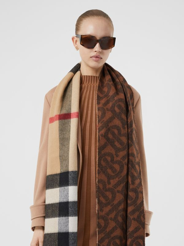 Reversible Check and Monogram Cashmere Scarf in Dark Chestnut Brown | Burberry United Kingdom - cell image 2