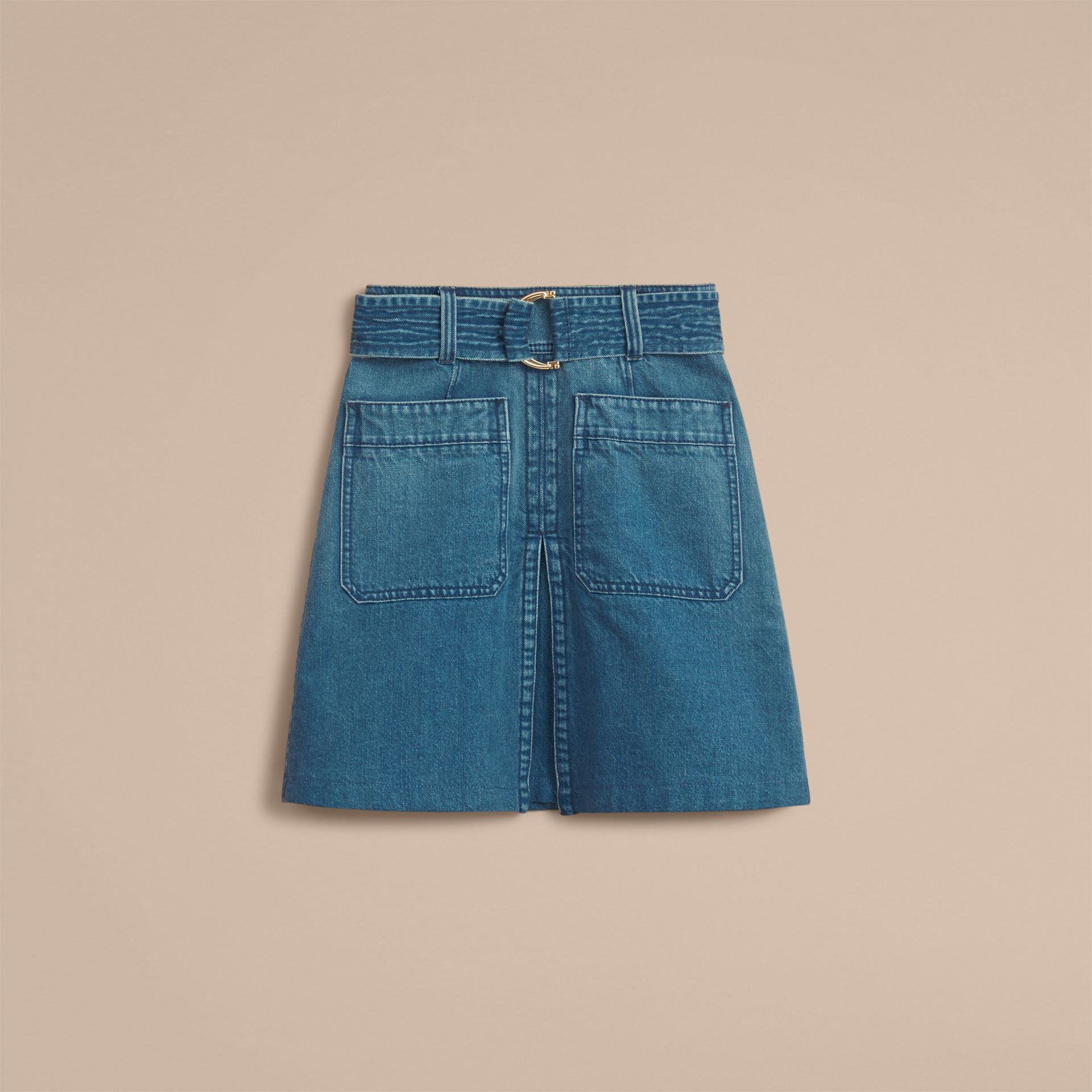 Patch Pocket Denim A-line Skirt in Indigo Blue - Women | Burberry United States - gallery image 3