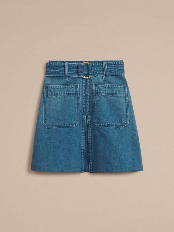 Patch Pocket Denim A-line Skirt in Indigo Blue - Women | Burberry - cell image 3