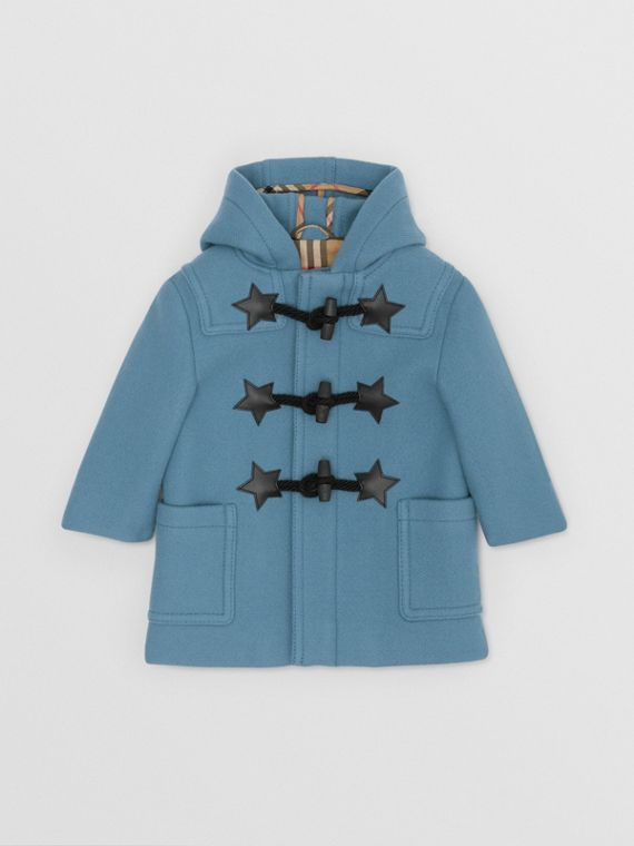 Faux Leather Star Detail Wool Blend Duffle Coat in Dusty Blue