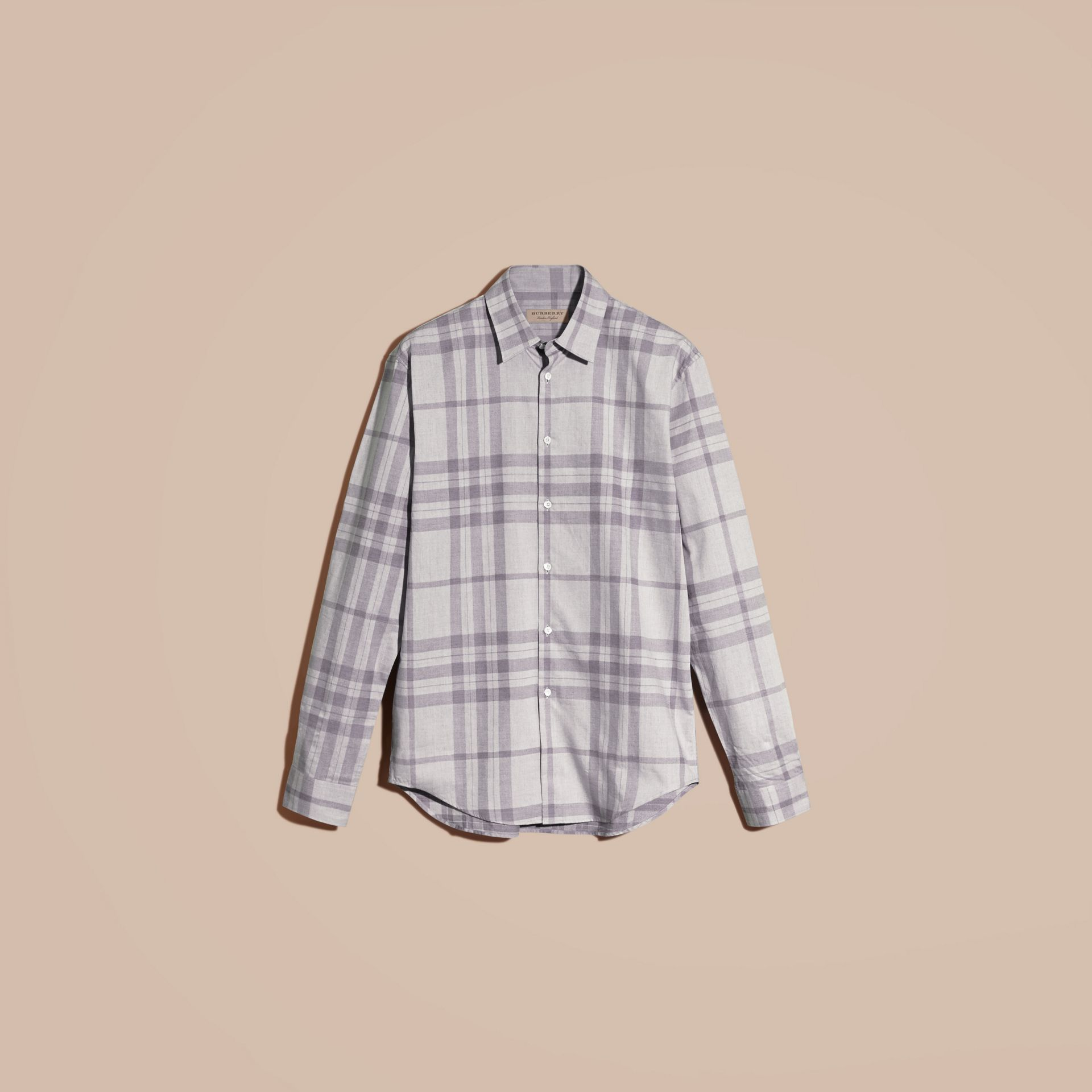 Dusty blue Check Cotton Flannel Shirt Dusty Blue - gallery image 4