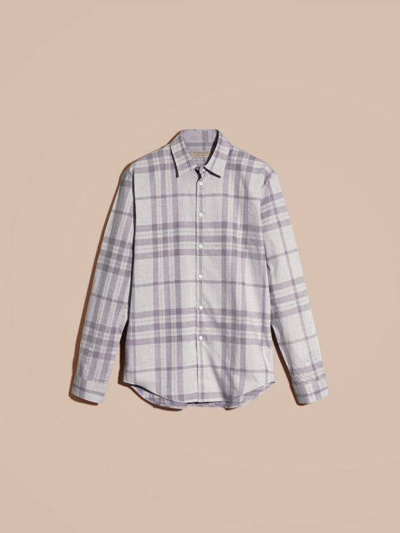 Dusty blue Check Cotton Flannel Shirt Dusty Blue - cell image 3