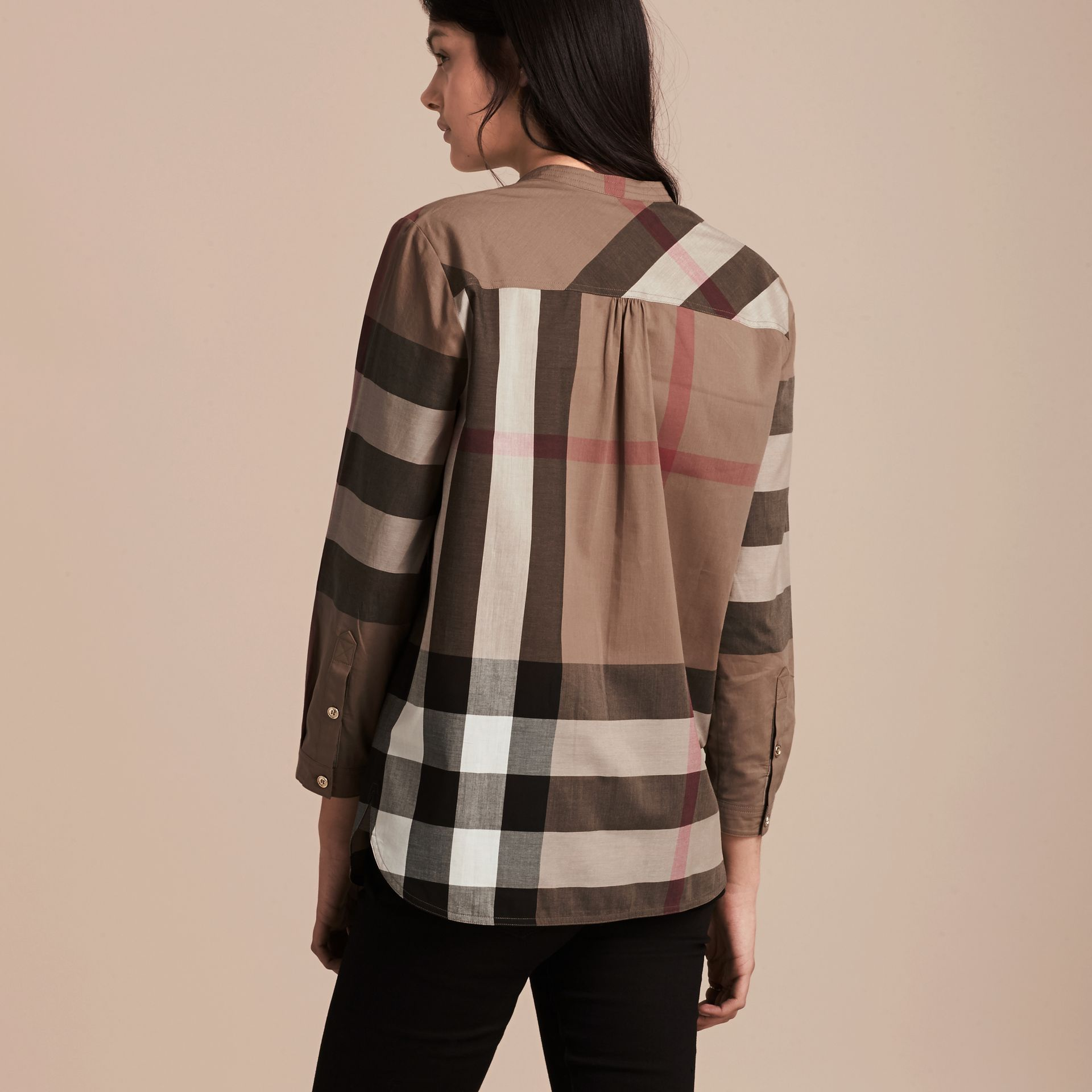 Taupe brown Check Cotton Tunic Shirt Taupe Brown - gallery image 3