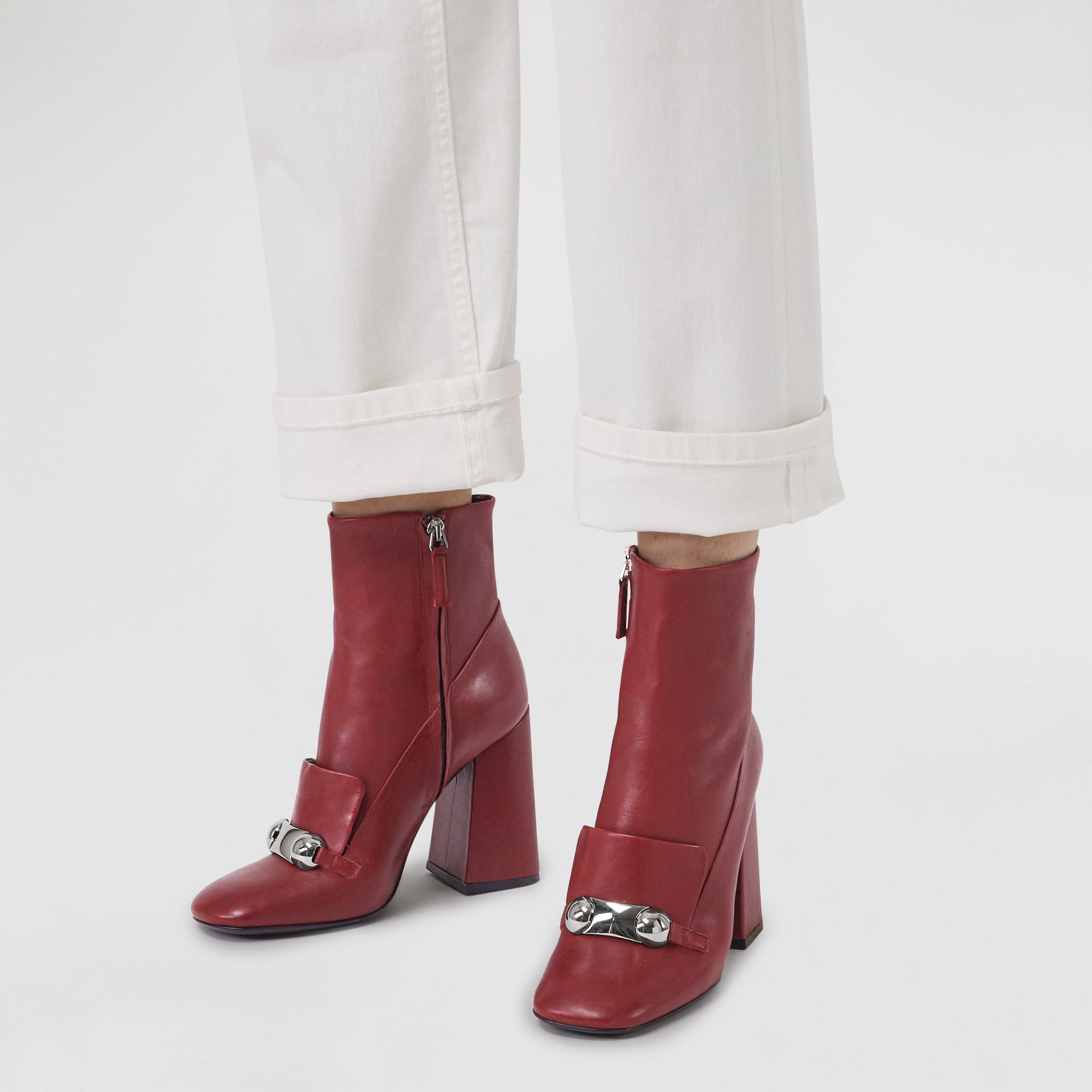 Studded Bar Detail Leather Ankle Boots in Bordeaux - Women | Burberry United States - gallery image 2