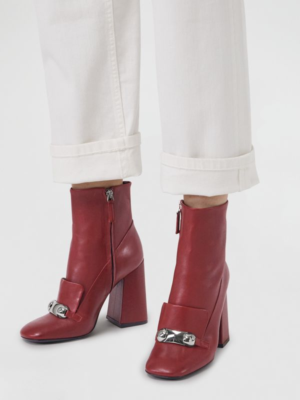 Studded Bar Detail Leather Ankle Boots in Bordeaux - Women | Burberry - cell image 2
