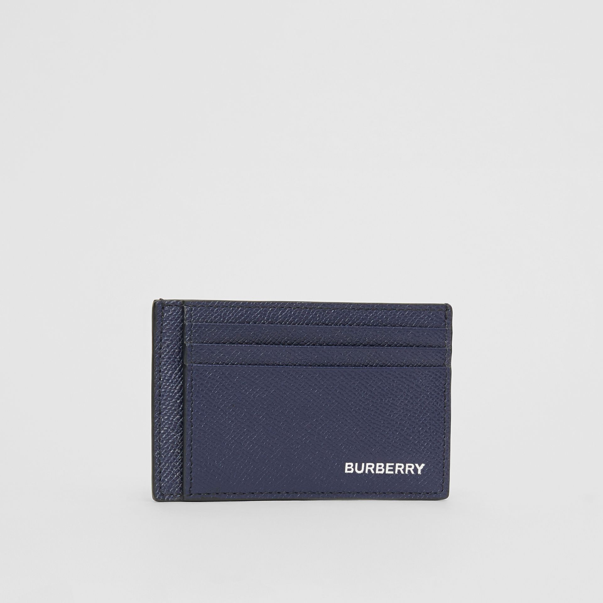 Grainy Leather Money Clip Card Case in Regency Blue - Men | Burberry Australia - gallery image 3