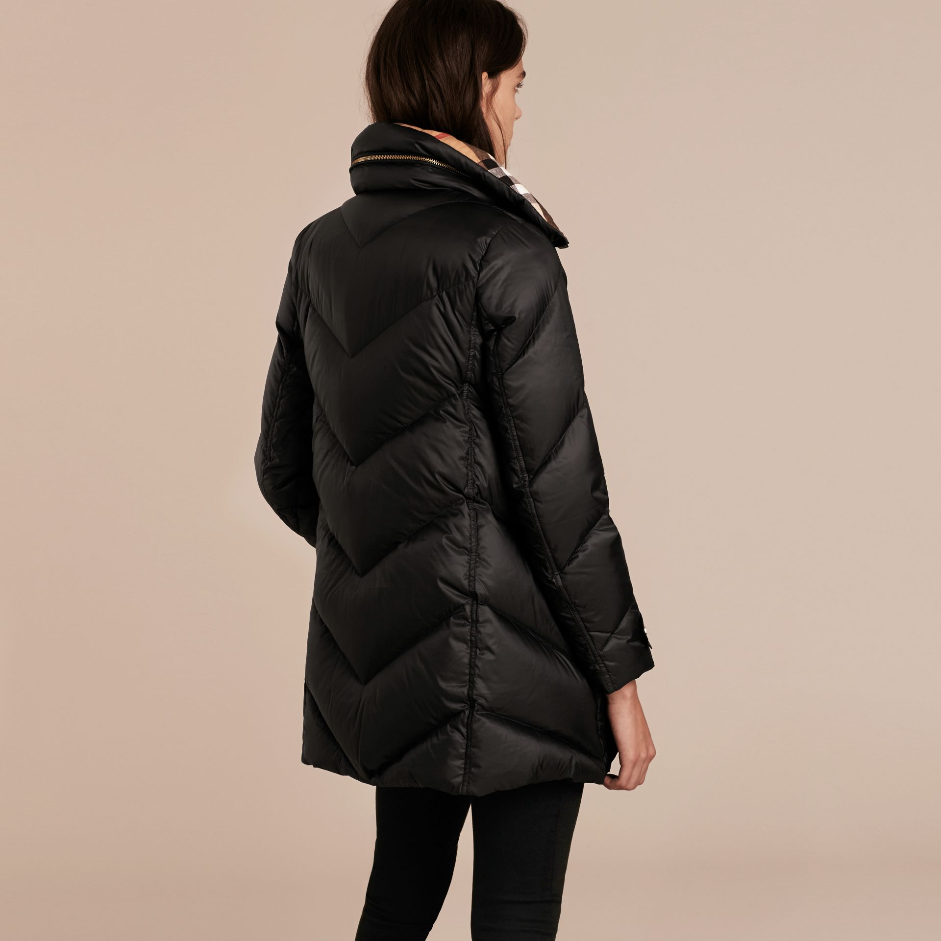 Chevron-quilted Down-filled Coat Black - gallery image 3