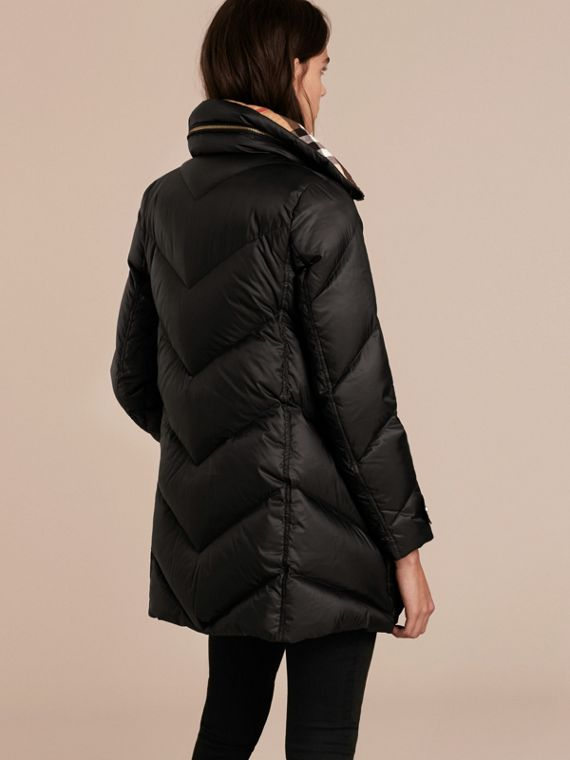 Black Chevron-quilted Down-filled Coat Black - cell image 2