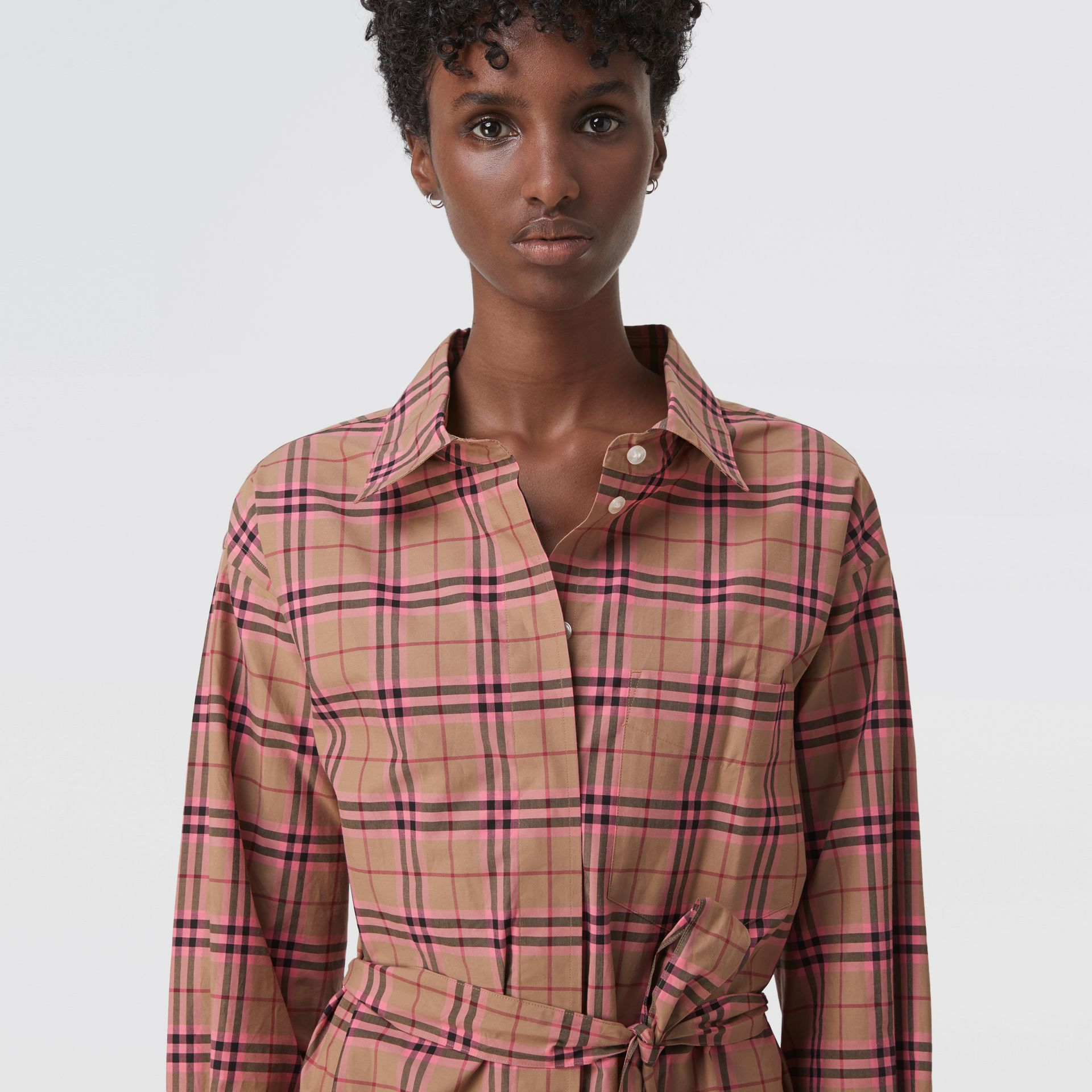 Check Cotton Shirt Dress in Pomegranate Pink - Women | Burberry United States - gallery image 1