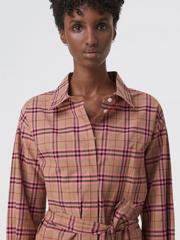 Check Cotton Shirt Dress in Pomegranate Pink - Women | Burberry - cell image 1