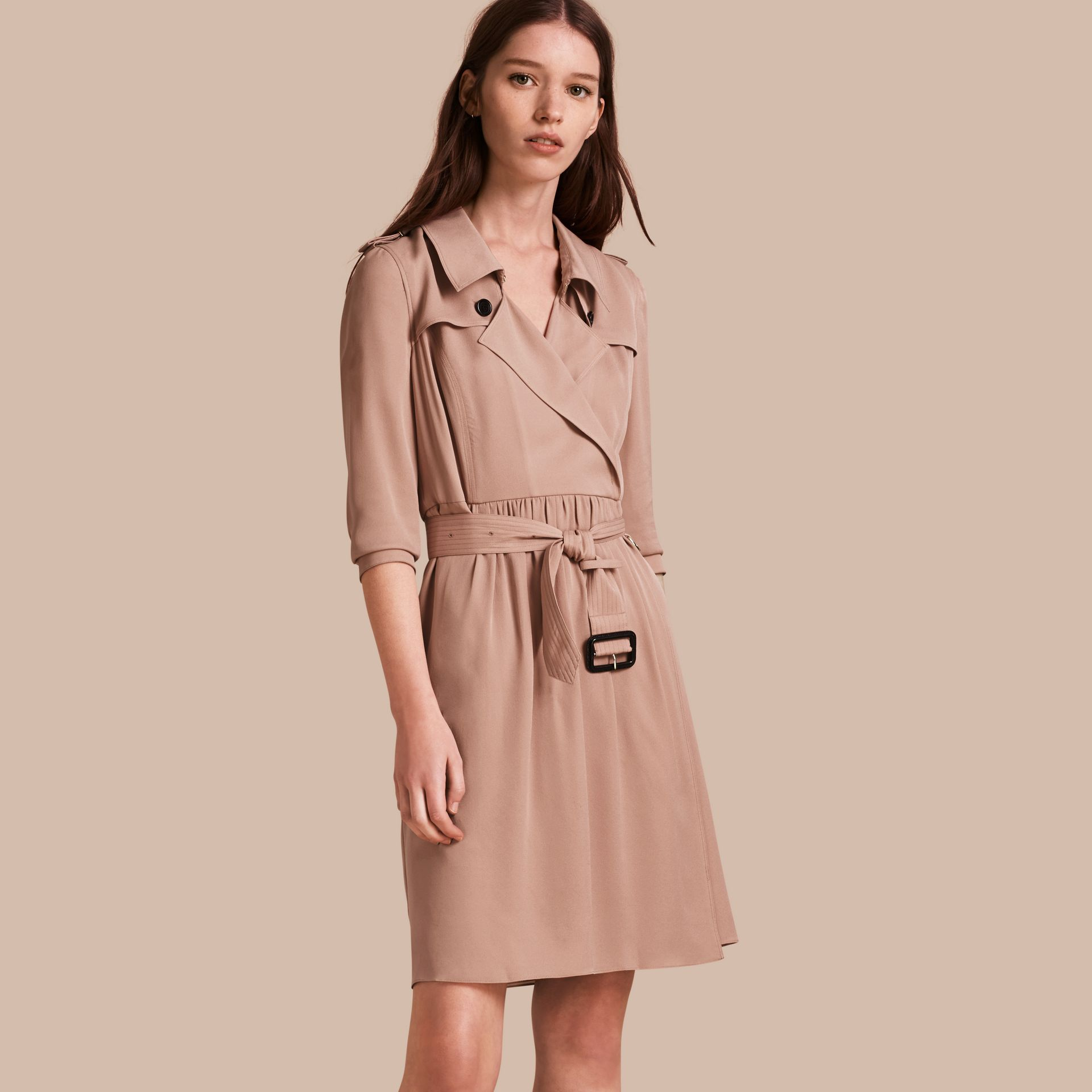Silk Trench Dress in Nude - gallery image 1