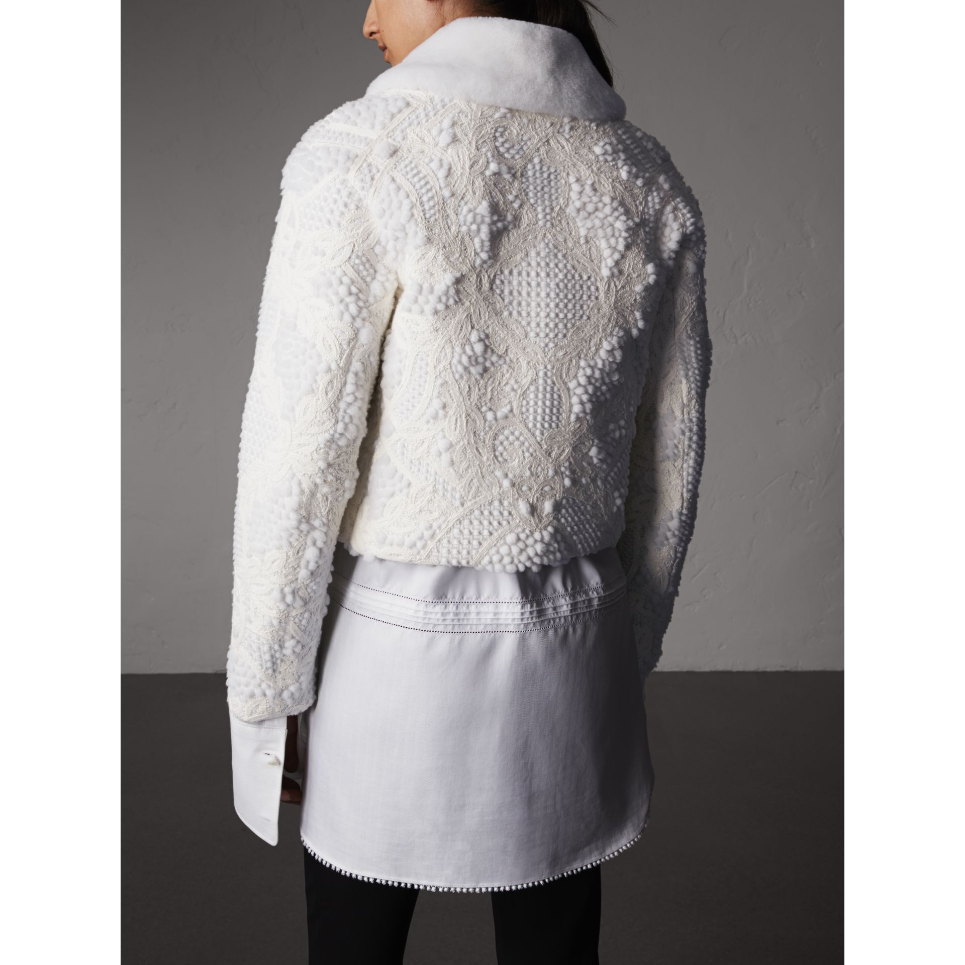Macramé Lace-embellished Shearling Jacket in White - Women | Burberry Singapore - gallery image 2