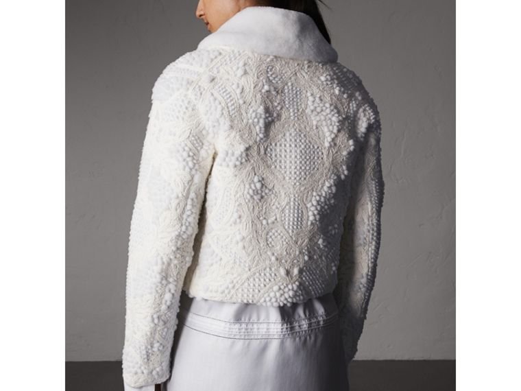 Macramé Lace-embellished Shearling Jacket in White - Women | Burberry - cell image 1