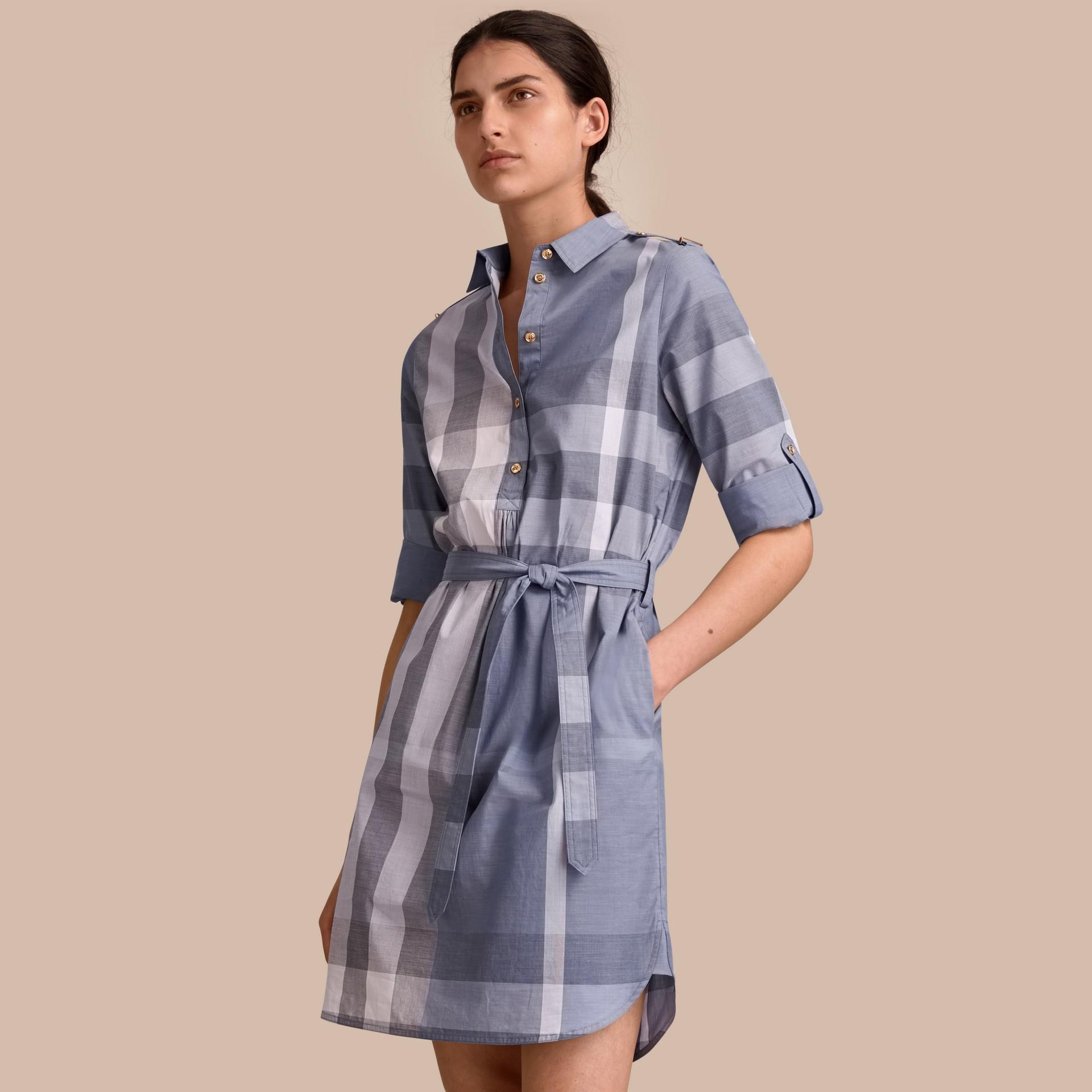 Tie-waist Check Cotton Shirt Dress - gallery image 1