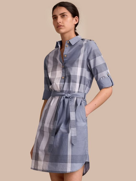 Tie-waist Check Cotton Shirt Dress