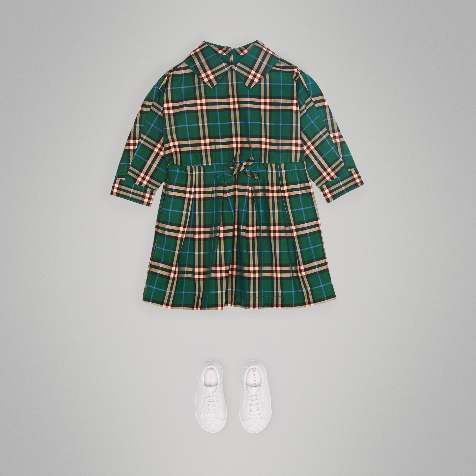 Check Cotton Drawcord Dress in Dark Forest Green - Children | Burberry - gallery image 2