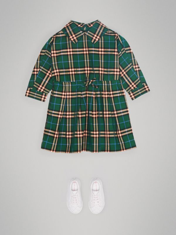 Check Cotton Drawcord Dress in Dark Forest Green - Children | Burberry - cell image 2