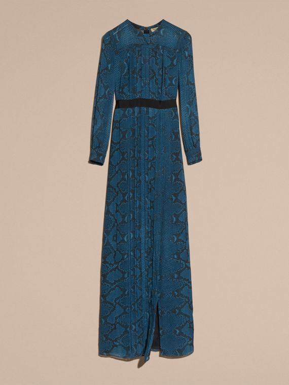 Mineral blue Floor-length Pleat Detail Python Print Silk Dress Mineral Blue - cell image 3