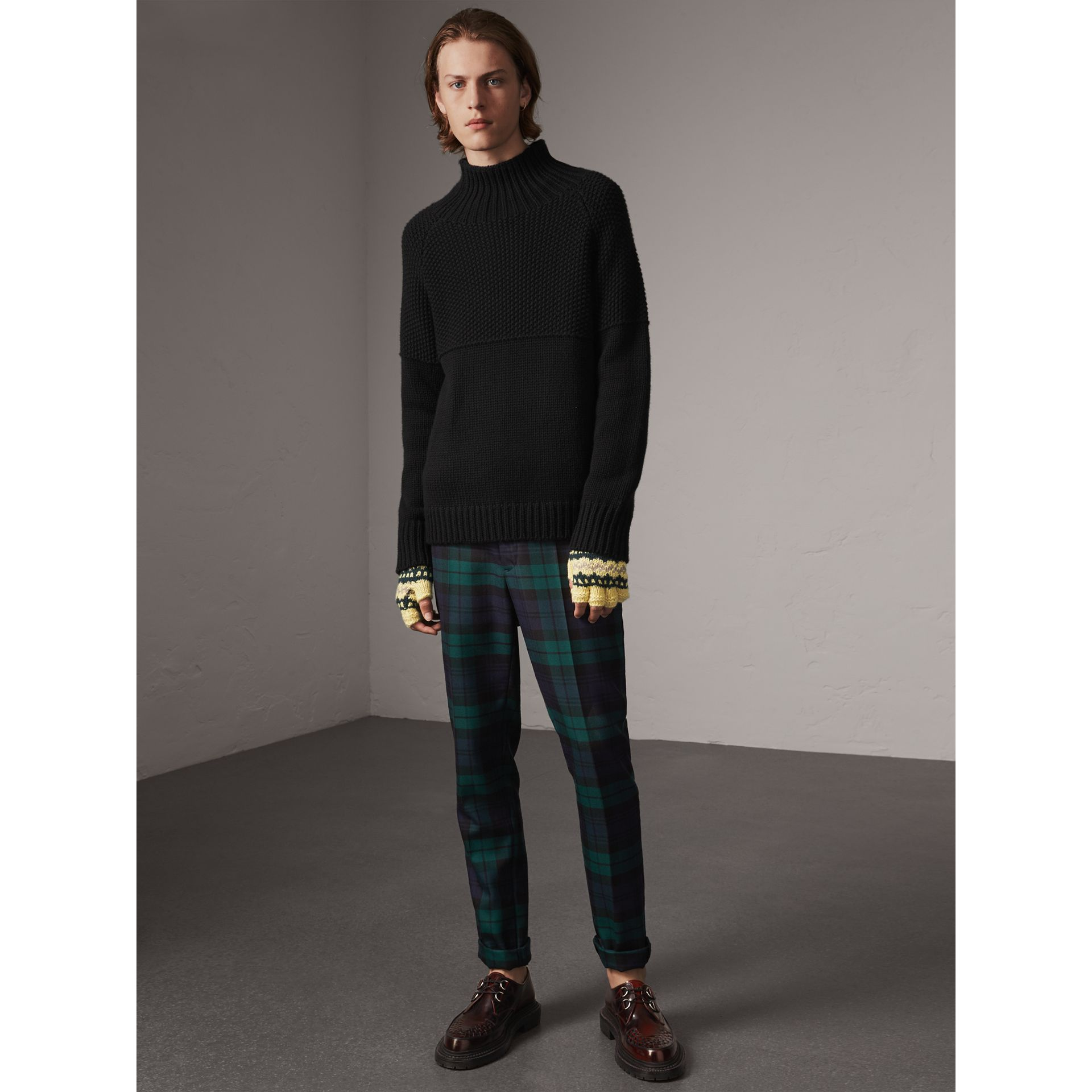 Tartan Wool Tailored Trousers in Navy - Men | Burberry Canada - gallery image 4