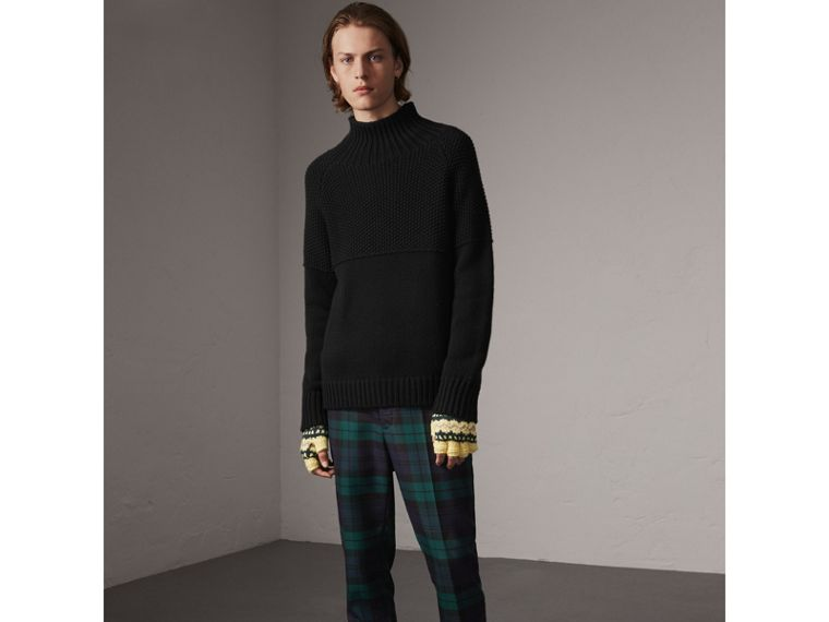 Tartan Wool Tailored Trousers in Navy - Men | Burberry United Kingdom - cell image 4