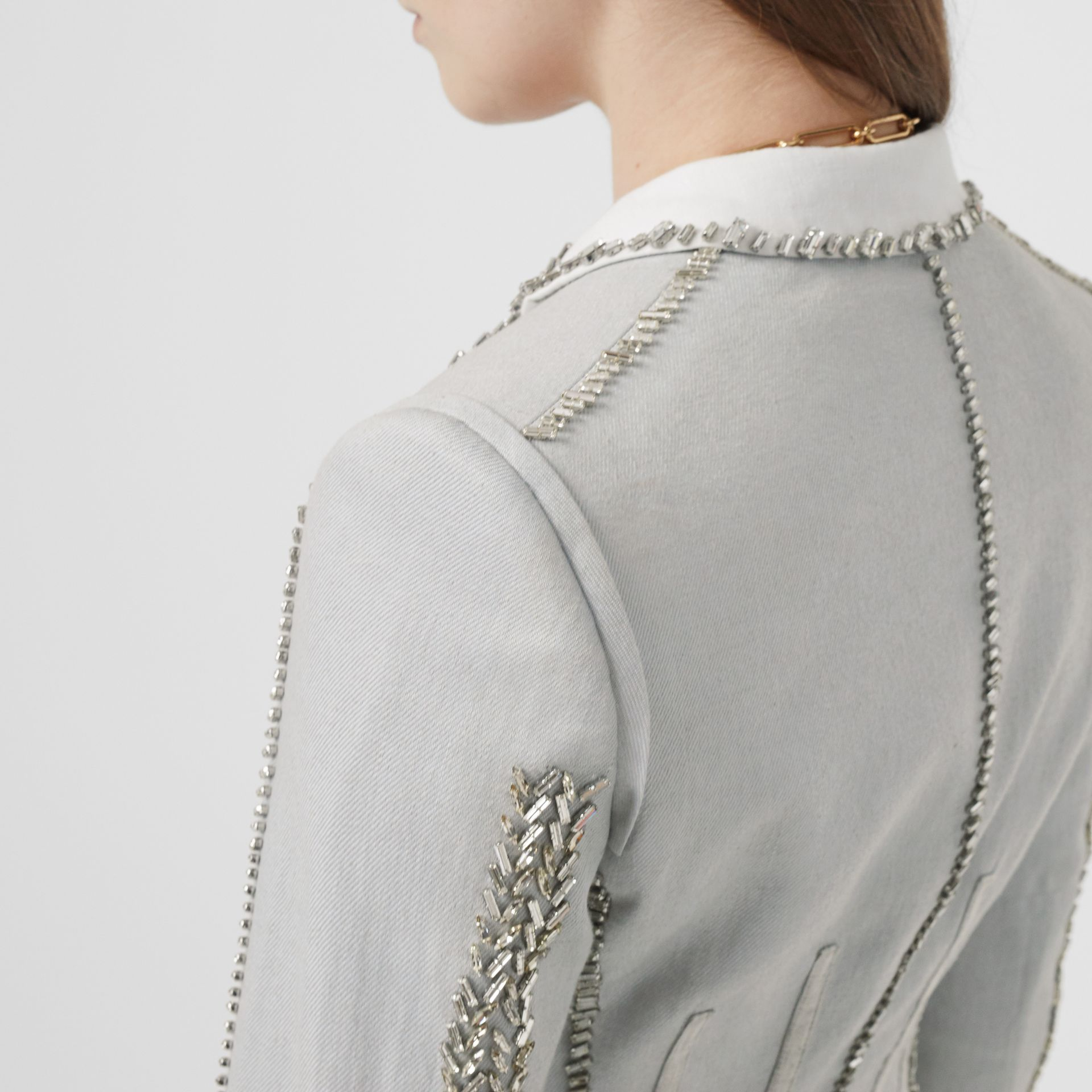 Crystal Embroidered Technical Linen Blazer in Grey Melange - Women | Burberry - gallery image 5