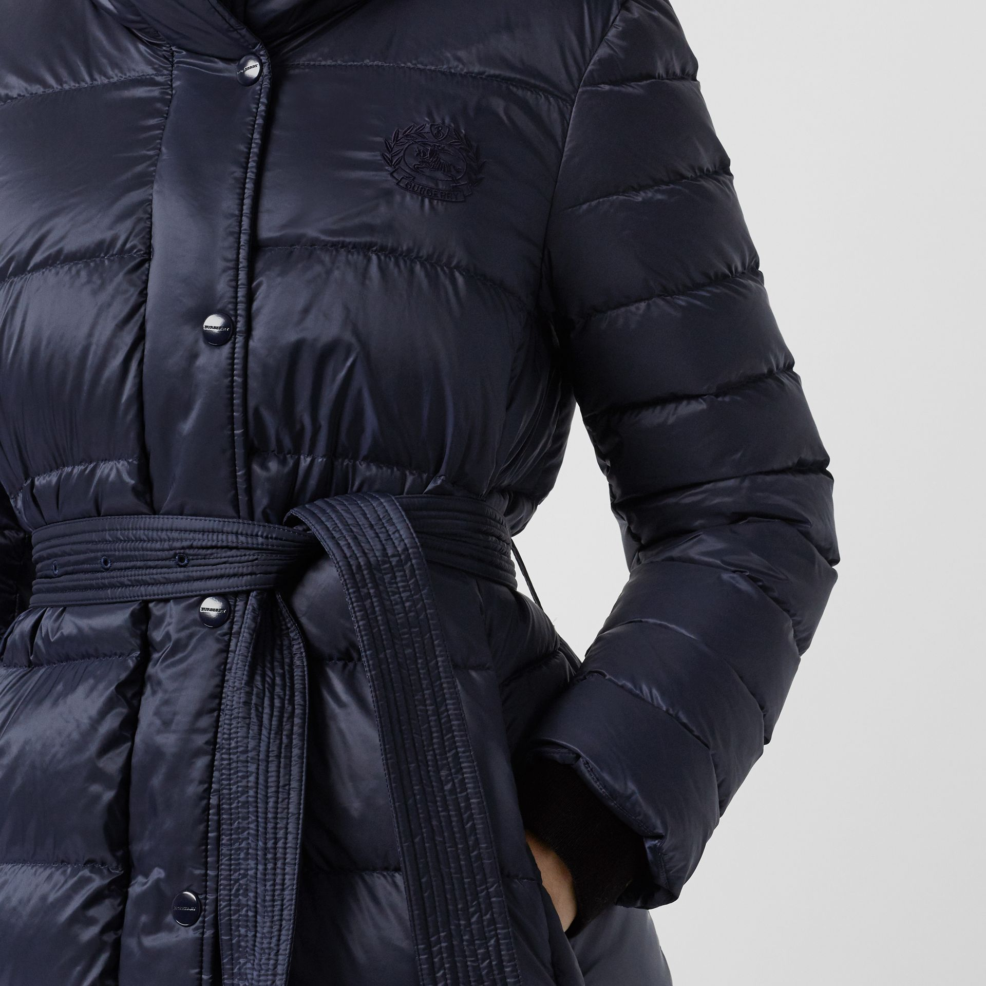 Down-filled Hooded Puffer Coat in Navy - Women | Burberry - gallery image 1