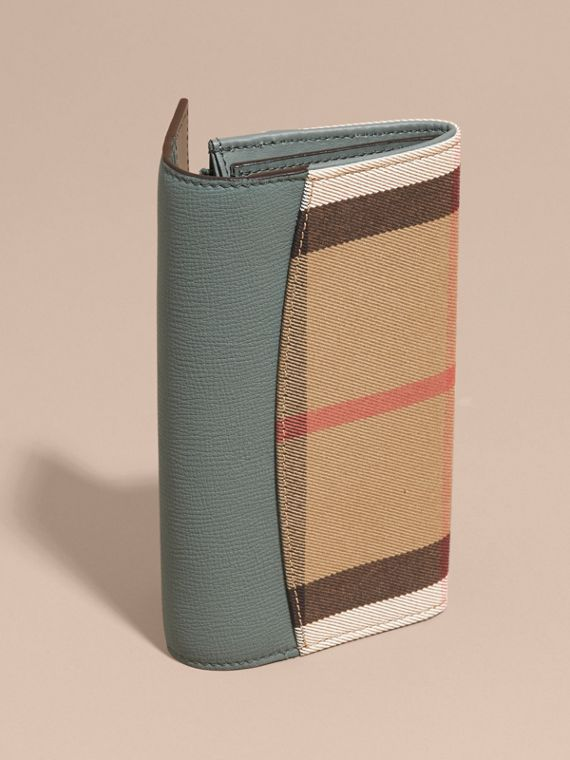 House Check and Leather Continental Wallet in Smokey Green - Women | Burberry - cell image 2