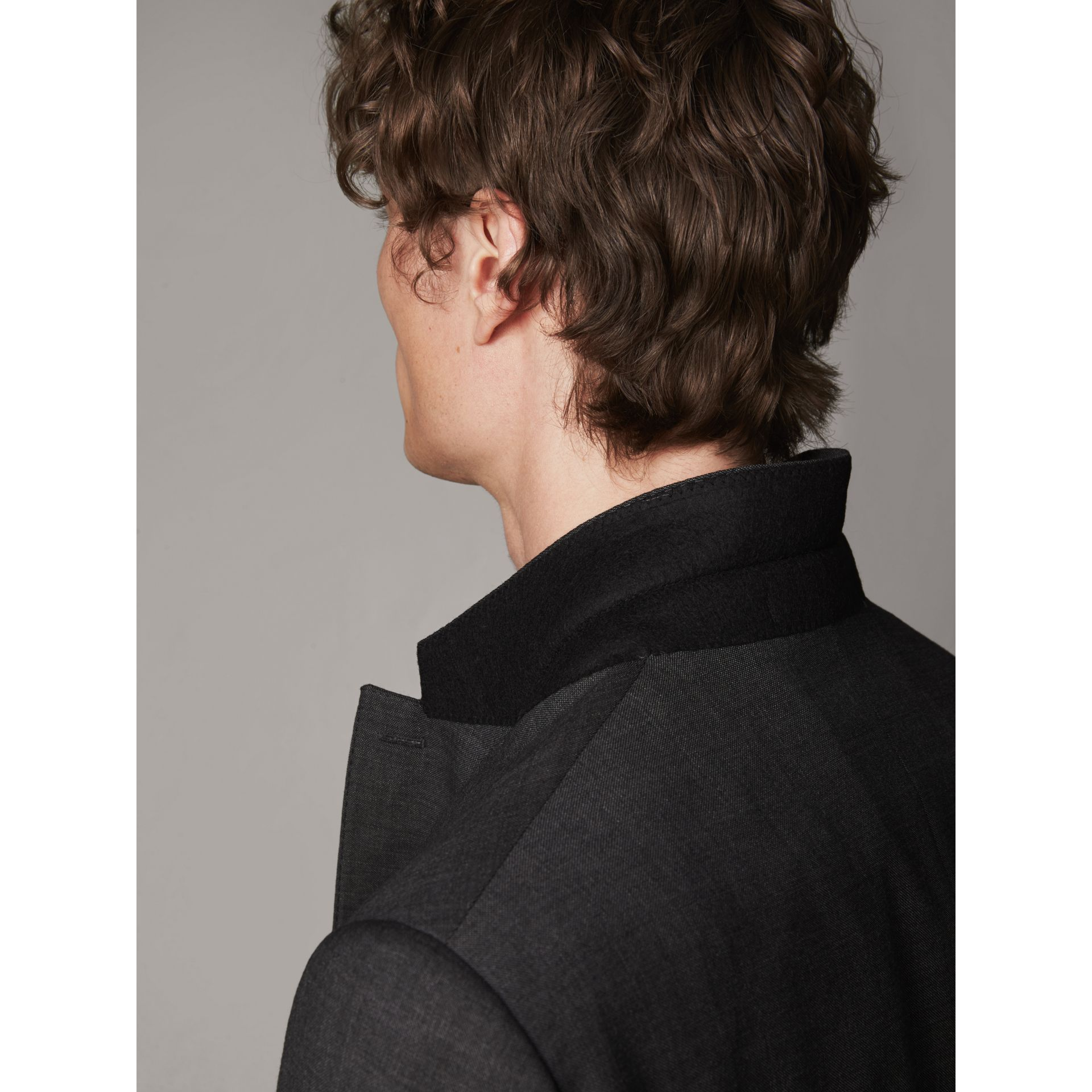 Modern Fit Travel Tailoring Virgin Wool Suit in Dark Grey Melange - Men | Burberry United Kingdom - gallery image 6