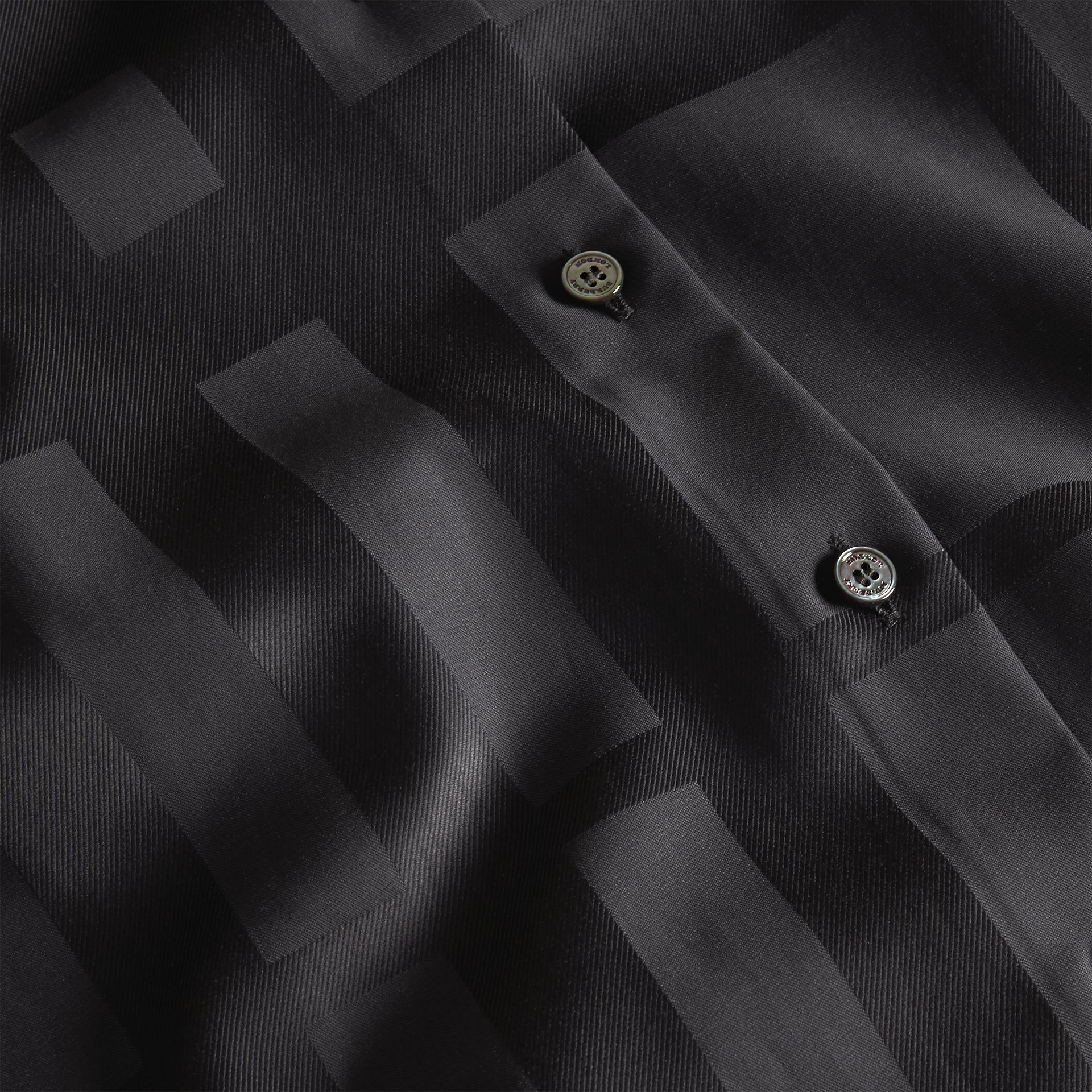Check Jacquard Cotton Shirt Black - gallery image 2