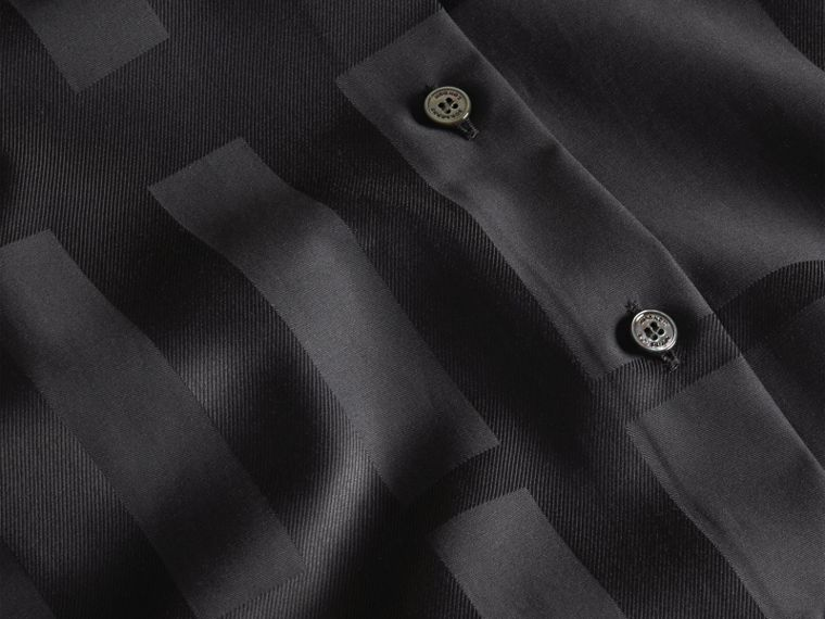 Check Jacquard Cotton Shirt Black - cell image 1