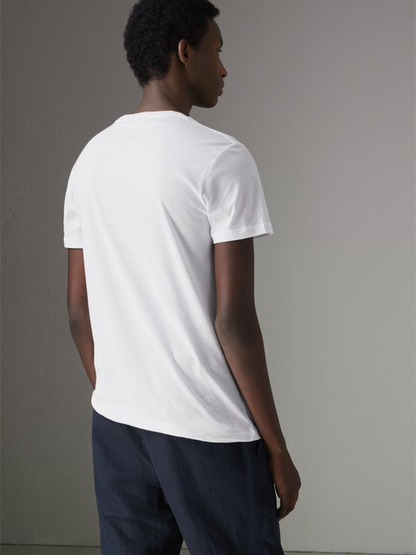 Fish and Chips Print Cotton T-shirt in White - Men | Burberry - cell image 2