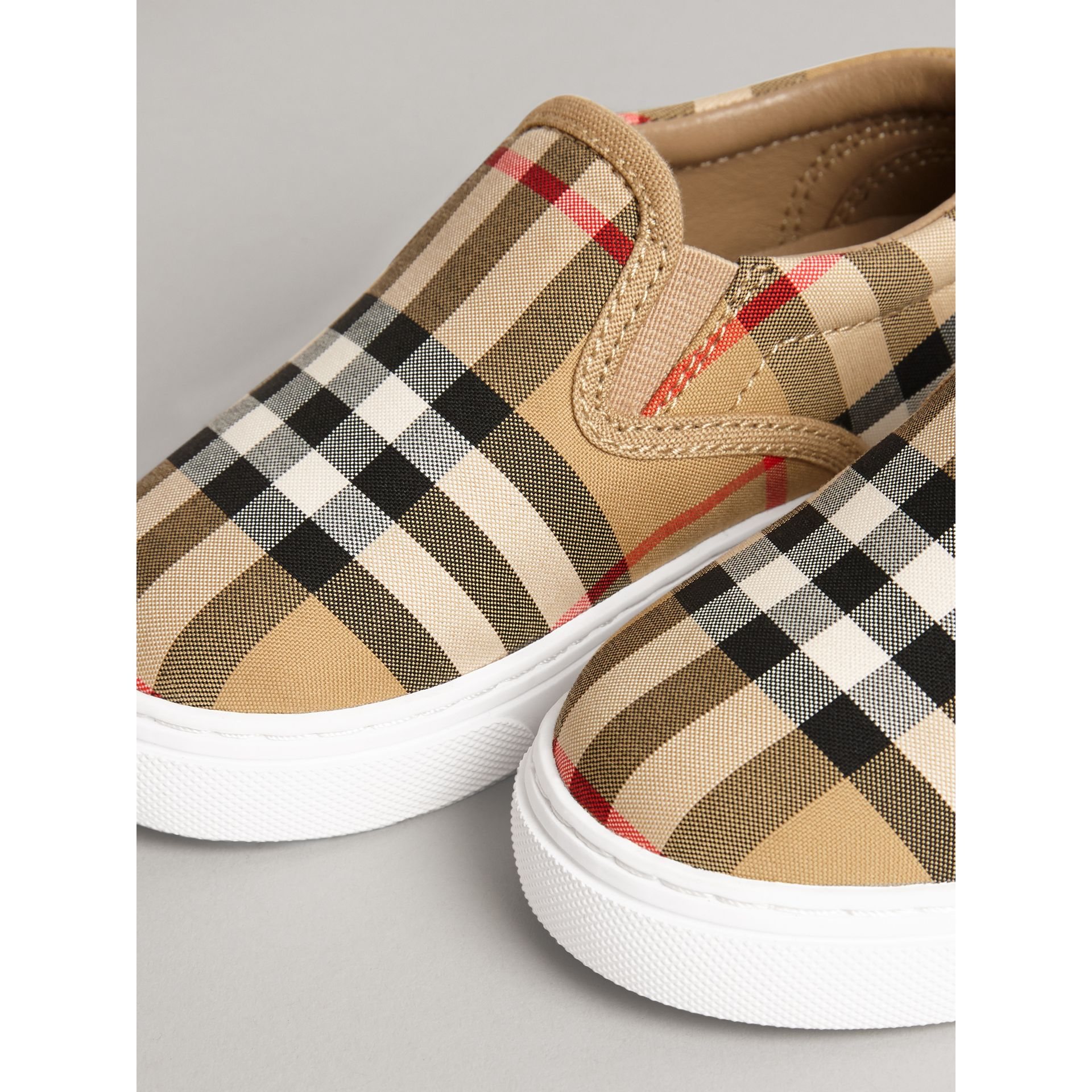Vintage Check and Leather Slip-on Sneakers in Antique Yellow/optic White | Burberry Canada - gallery image 1