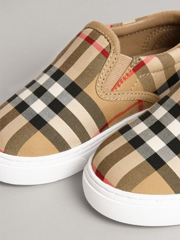 Vintage Check and Leather Slip-on Sneakers in Antique Yellow/optic White - Children | Burberry United Kingdom - cell image 1